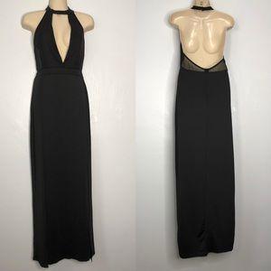 Black halter mesh plunge slit backless maxi dress